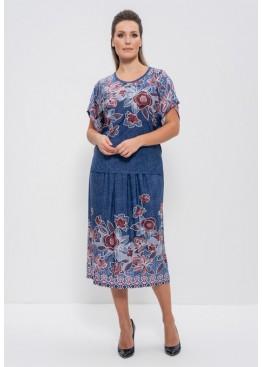 Комплект с юбкой 1101 tea rosa/jeans, Cleo