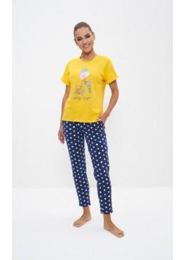 Пижама 1123 желтый/розовый горох, Cleo