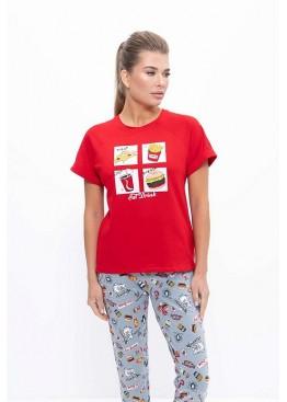 Пижама с штанами женская 1123 серый/красный, Cleo