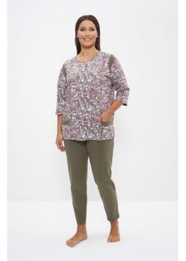 Пижама женская хлопок 1141 коричневый/хаки, Cleo