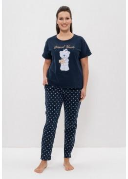 Пижама 1142 синий с мишкой, Cleo