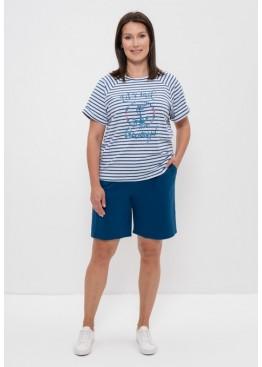 Комплект женский футболка и шорты 1152 синяя полоска/якорь, Cleo