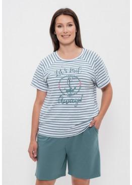 Комплект женский футболка и шорты 1152 оливковая полоска/якорь, Cleo