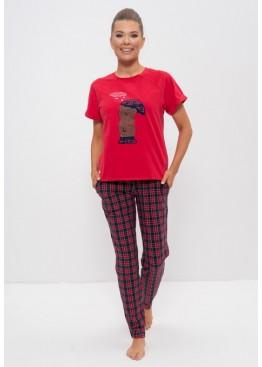 Пижама женская хлопок 1157 красный с мишкой, Cleo