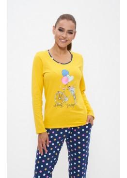 Пижама с брюками 1159 желтый/розовый горох, Cleo