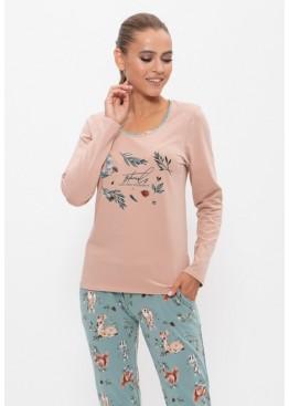 Пижама с брюками 1159 бежевый/ботаника, Cleo