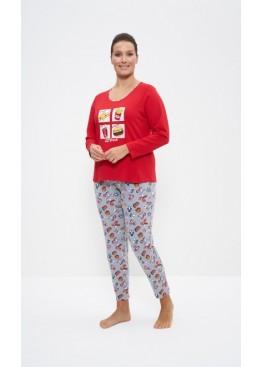 Пижама с брюками 1159 серый/красный, Cleo