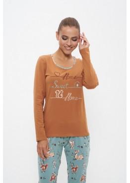 Пижама с брюками 1160 коричневый/белка, Cleo