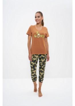 Пижама женская с бриджами 1161 коричневый/авокадо, Cleo