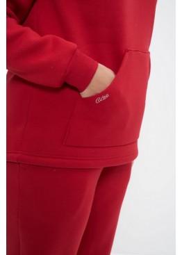 Костюм спортивный женский теплый 1162 красный, Cleo