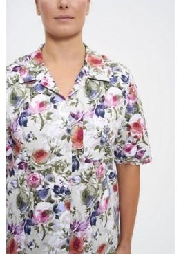Халат-рубашка 679-1 фисташковый с цветами, Cleo