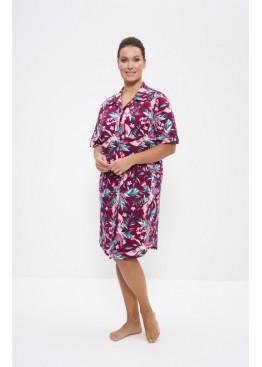 Халат-рубашка 679-1 бордовый/цветы, Cleo