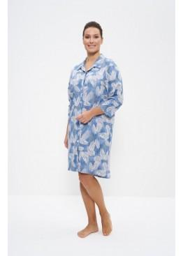 Халат-рубашка 895 джинсовый/листья, Cleo