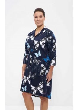Халат-рубашка 895 синий/бабочки, Cleo