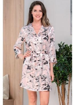 Рубашка халат шелковая на пуговицах 3757 персиковый, Mia-Amore