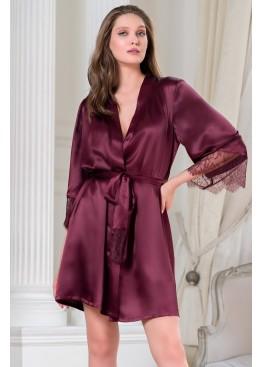 Халат женский шелковый на запах 3803 бордо, Mia-Amore