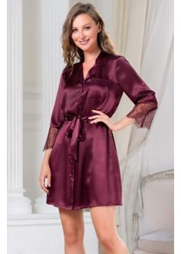 Халат женский шелковый короткий 3807 бордо, Mia-Amore
